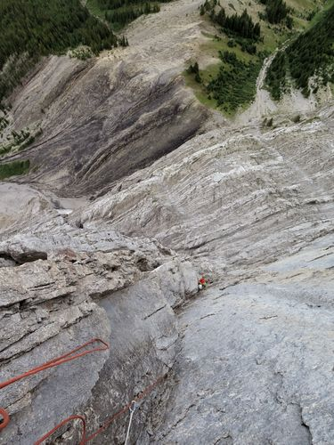 Looking down the fourth pitch. Photo: Steve Holeczi