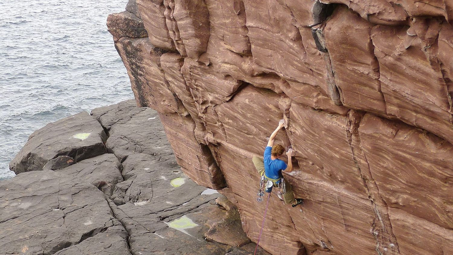Calum was using the ropes for trad climbing on some sandstone sea cliffs at Reiff
